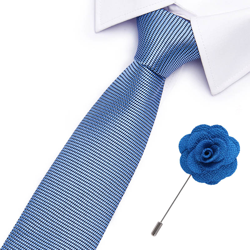 Luxury 7.5cm Men's Classic Tie Silk Jacquard Woven Plaid Check Striped Cravatta Ties &Pin Set Men Suit Accessories