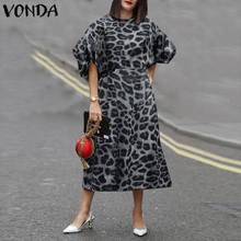 Dress 2021 VONDA Women Summer Holiday Sundress Vintage Puff Sleeve Leopard Printed Mid-Calf Dress Plus Size Casual Vestidos 5XL
