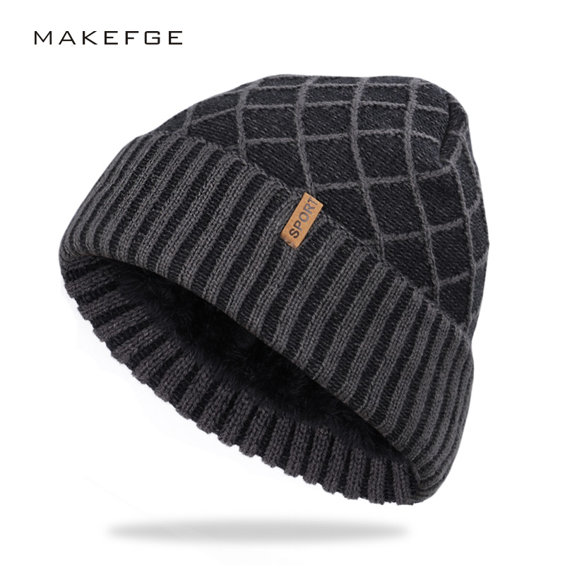 2019 Men's Hat Winter Plaid Knit Hat Outdoor Warm Thick Cotton Cap Velvet High Quality Cotton Men's Hat Large Size Ski Warm
