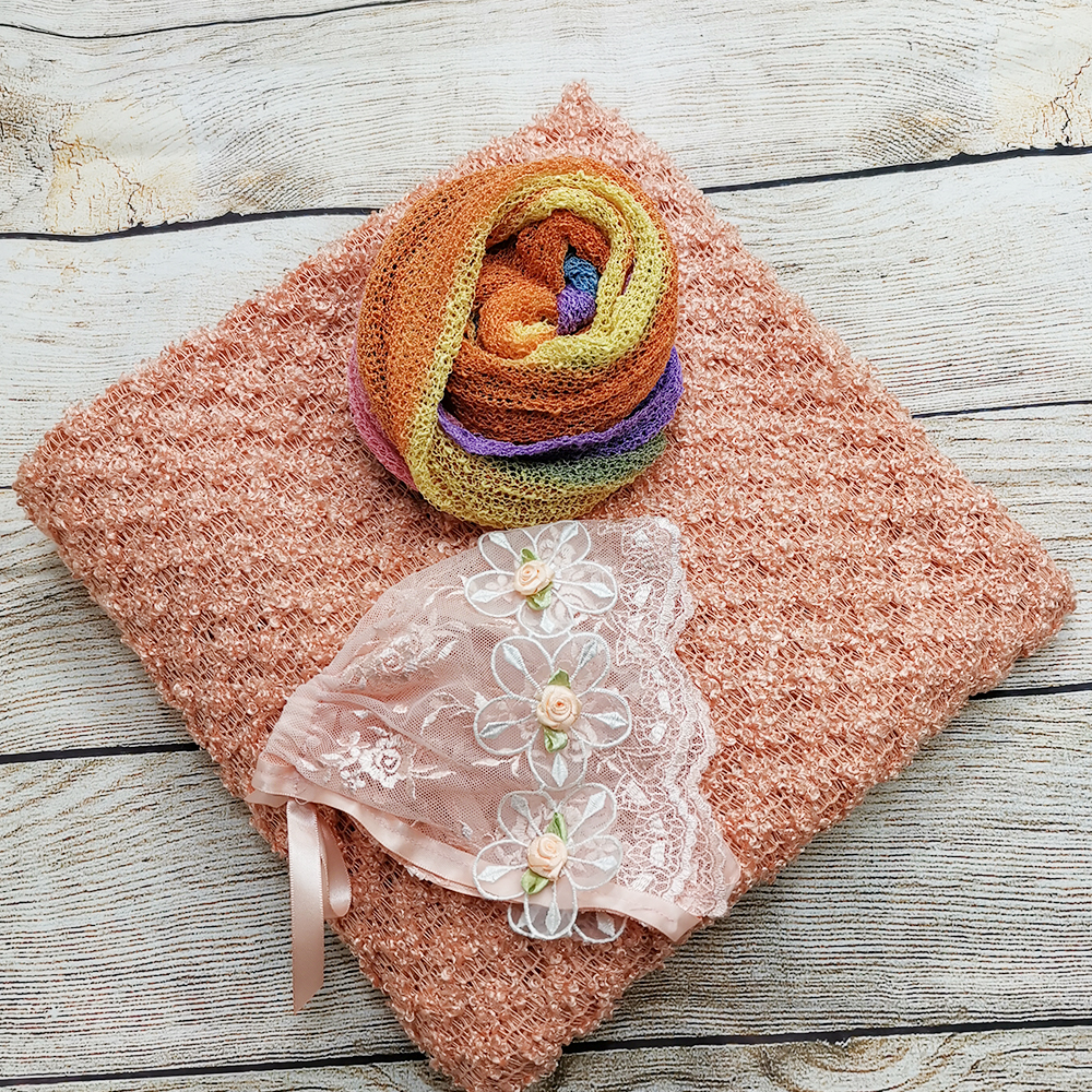 Clearance 150*100cm Knitted Thin Fabric Backdrop Blanket+Stretch Knit wrap+Handcraft Vintage Gril Lace Hat for Newborn Shooting
