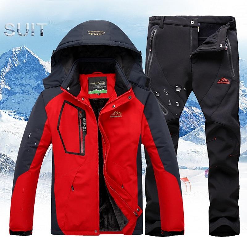Winter Ski Suit Men Ski Jacket Pants Sets Skiing Waterproof Windproof Thicken Warm Snow Clothes For Men