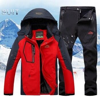 цена на Winter Ski Suit Men Ski Jacket Pants Sets Skiing Waterproof Windproof Thicken Warm Snow Clothes for Men