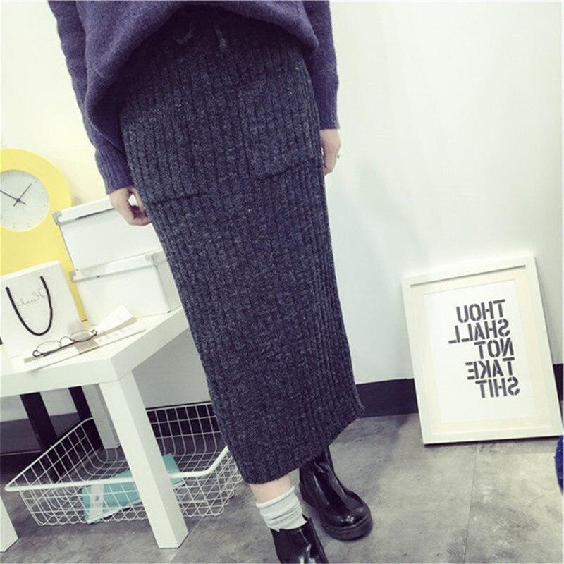 Korean-style Rabbit Fur Slit Sheath Yarn Skirt Mid-length Knit High Waist Skirt Long Skirts One-step Skirt