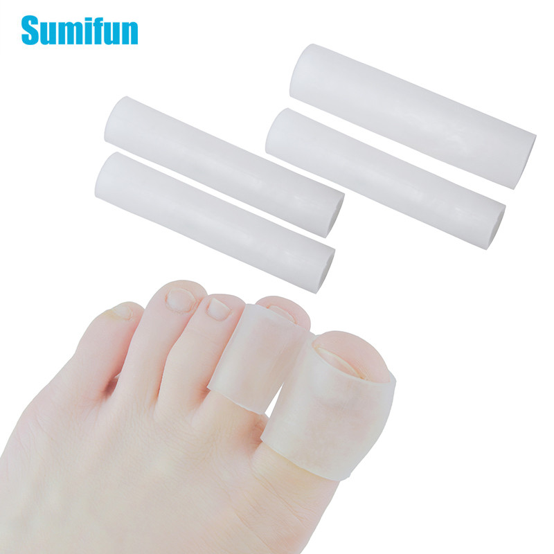 Sumifun 2pcs Gel Tube Finger & Toe Protectors Foot Massager Removal Calluses Plantar Warts Thorn Pain Relieving Feet Care C1488
