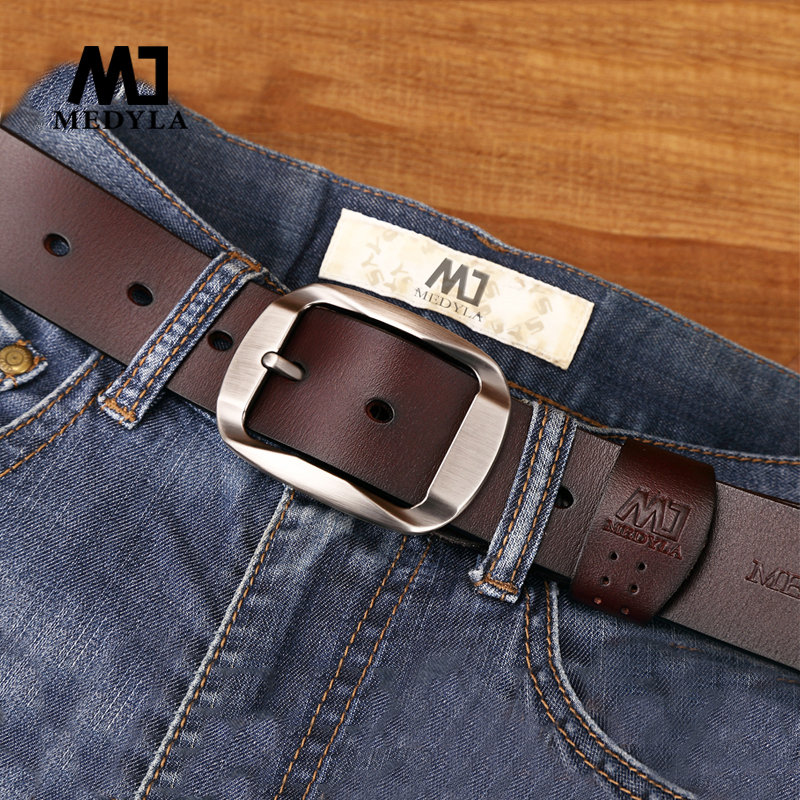 MEDYLA belt male cowhide genuine leather belts for men brand Strap male pin buckle vintage jeans