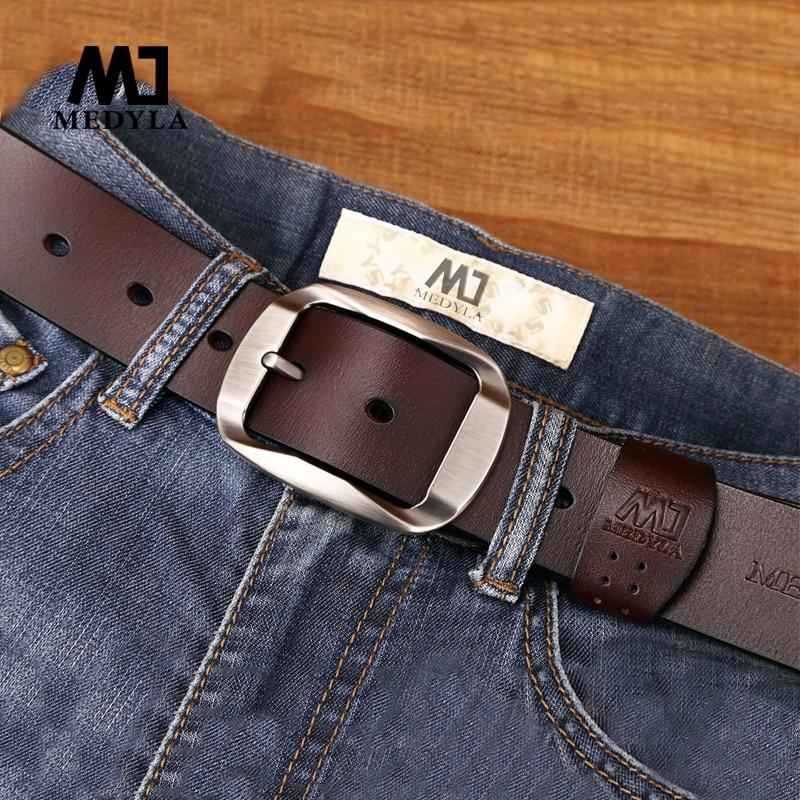 MEDYLA Belt Male Cowhide Genuine Leather Belts For Men Brand Strap Male Pin Buckle Vintage Jeans Belt 110cm-125cm