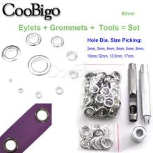 2mm-17mm 100set silver eyelet and Eyelet Punch Die Tool Set for belt buckle clothing decoration buckle hollow rivet eye button