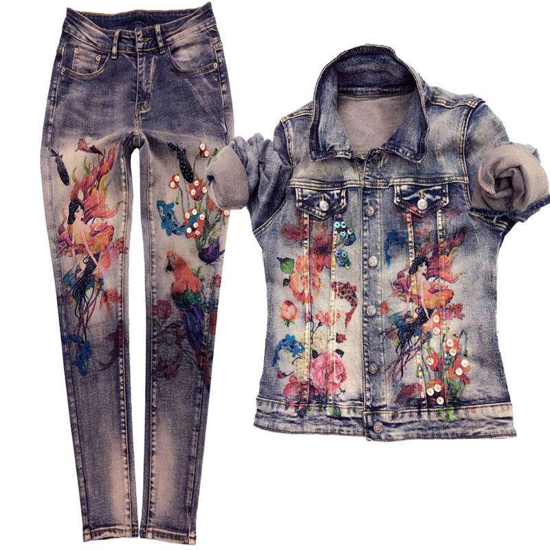 European Style Denim Set Women's New Spring Autumn Personality Painted Long-Sleeve Denim Jacket + Jeans Two-Piece Set Stretch
