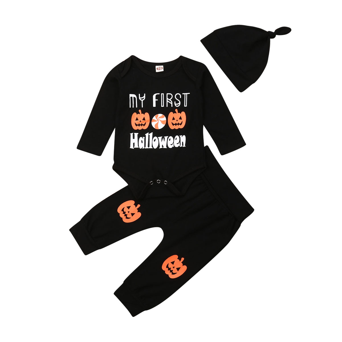 <font><b>Newborn</b></font> <font><b>Baby</b></font> Boy <font><b>Girl</b></font> Halloween <font><b>Clothes</b></font> 3PCS Pumpkin Romper Bodysuit Long Pants Outfits <font><b>Autumn</b></font> <font><b>Clothes</b></font> My First Holloween 0-18M image