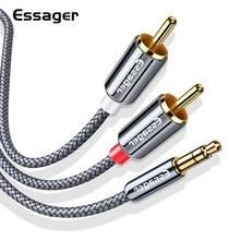Cabo rca de essager 3.5mm jack para 2 rca aux cabo 3.5mm para 2rca adaptador divisor cabo de áudio para tv caixa de cinema em casa fio alto-falante