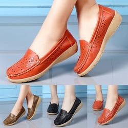 Novo plus tamanho 35-41 ervilhas sapatos mãe plana sapatos de couro oco tendão inferior redondo casual sapatos de enfermeira zapatos #15