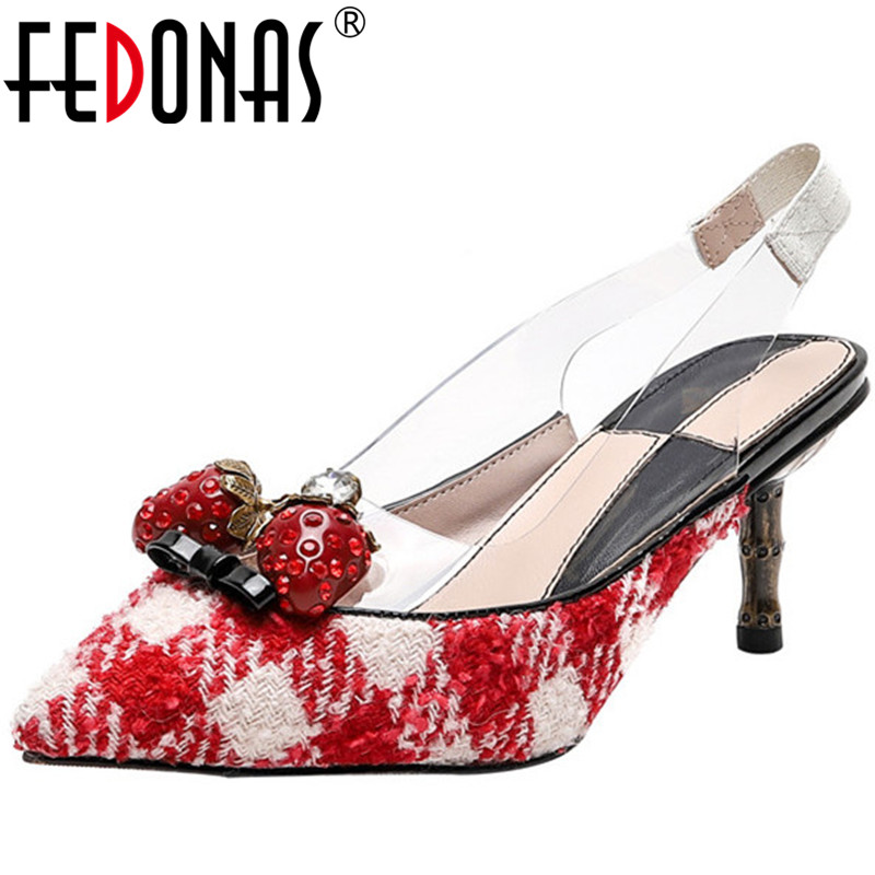 FEDONAS Sweet Strawberry Rhinestones Decoration Patent Leather <font><b>Women</b></font> Sandals Fine Heeled Party Spring Summer New <font><b>Shoes</b></font> Woman image