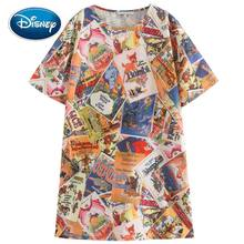 Disney Familie 101 Dalmatiërs Hond Dumbo Olifant Bambi Herten Mickey Mouse Cartoon Print Korte Mouw Chic Fashion Vrouwen Mini Jurk(China)