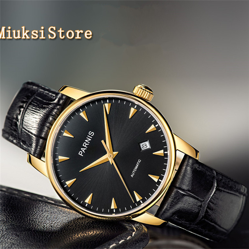 Parnis 38mm Black Dial Gold Case Sapphire Miyota Automatic Men's Women's Watches 2547 image