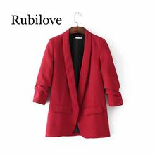 Rubilove Autumn womens European and American style fashion wild black can be curled solid color suit blazer