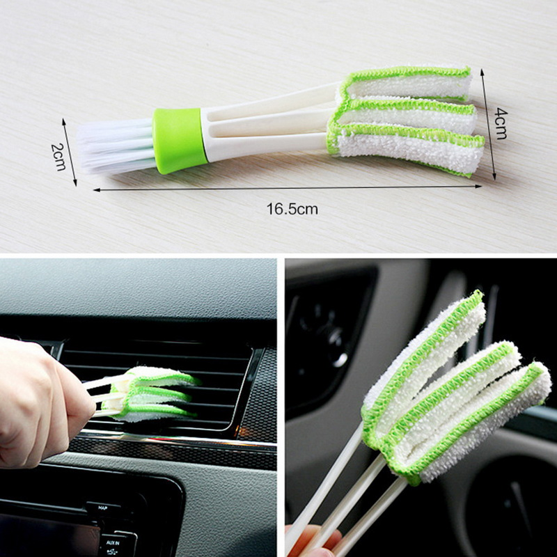 Long Durable 2 In 1 Double Slider Car Air-conditioner Outlet Cleaning Tool Window Cleaning Multi-purpose Brush Car Accessories