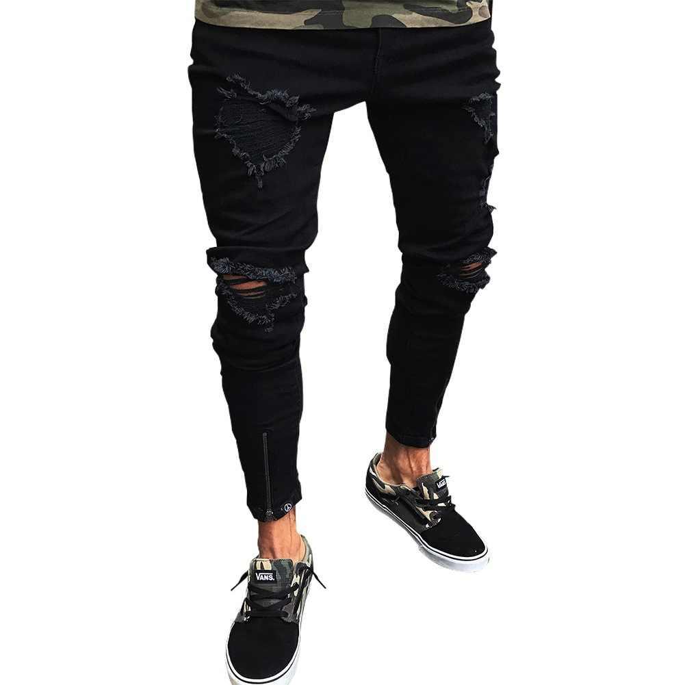 Высокие уличные новые стильные уличные мужские черные рваные джинсы брюки мужские Подростковая для учебы обтягивающие брюки