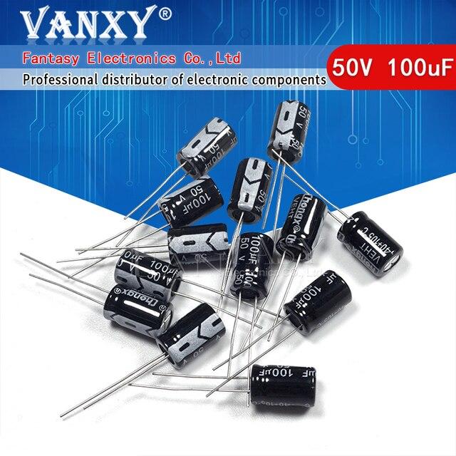 50 قطعة Higt جودة 50V100UF 8*12 مللي متر 100 فائق التوهج 50V 8*12 مُكثَّف كهربائيًا