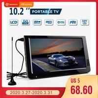 Extérieur 10.2 pouces 12V Portable numérique analogique télévision DVB-T / DVB-T2 TFT LED HD TV soutien TF carte USB Audio voiture télévision