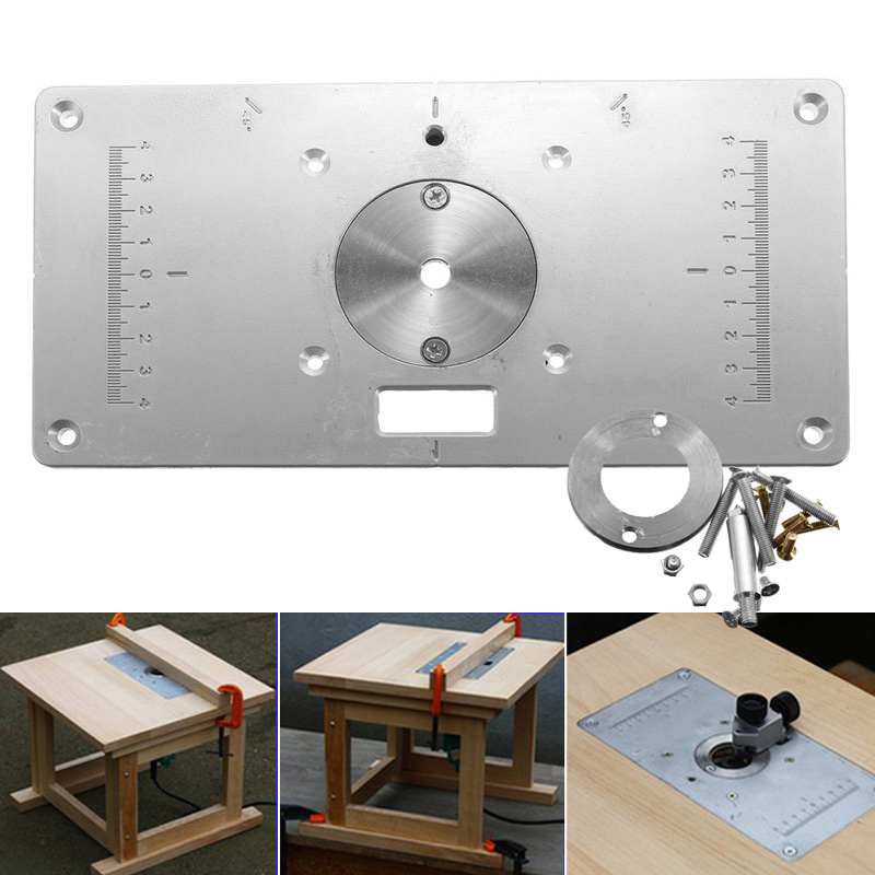 235mm X 120mm X 8mm Router Table Plate 700C Aluminum Router Table Insert Plate + 4 Rings Screws For Woodworking Benches