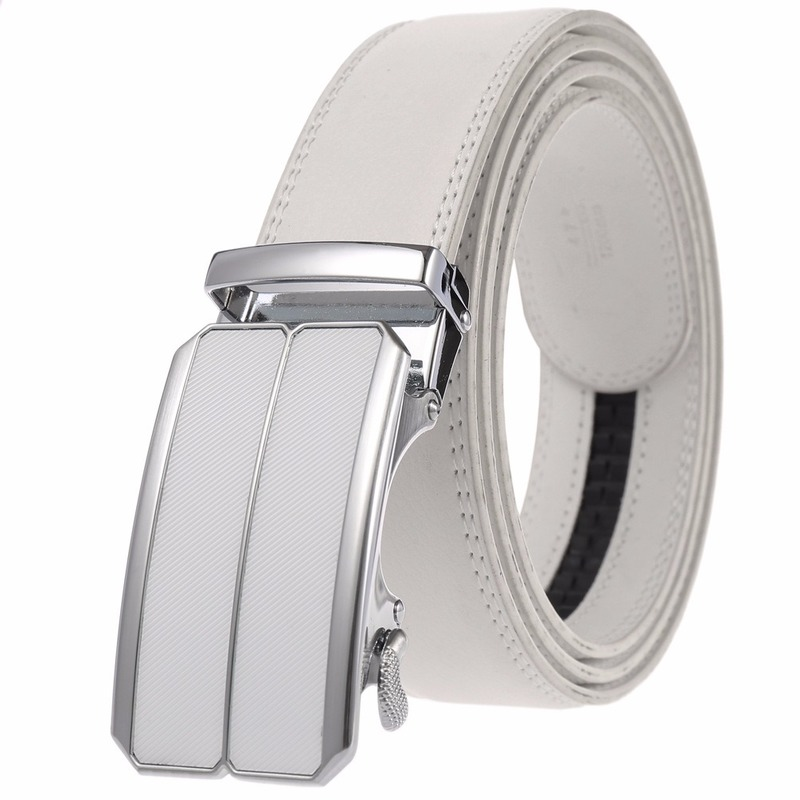 Belt for Men's Fashion Luxury red Alloy Automatic Buckles LeatherWaist Belts for Men Pants Buckles 3.5cm Ratchet Accessories