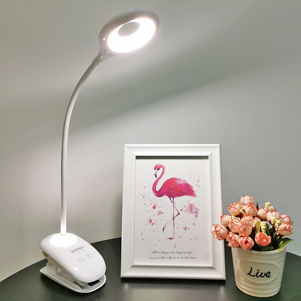 Flexible LED Table Lamp Clip On Portable Desk Lamp USB Rechargeable Eye Protection 3 Lights For Student Gift Office Reading Lamp