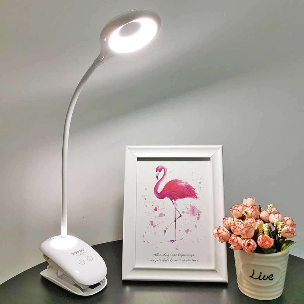 휴대용 책상 램프에 유연한 LED 테이블 램프 클립 USB 충전식 눈 보호 3 학생 선물 사무실 독서 램프에 대 한 조명