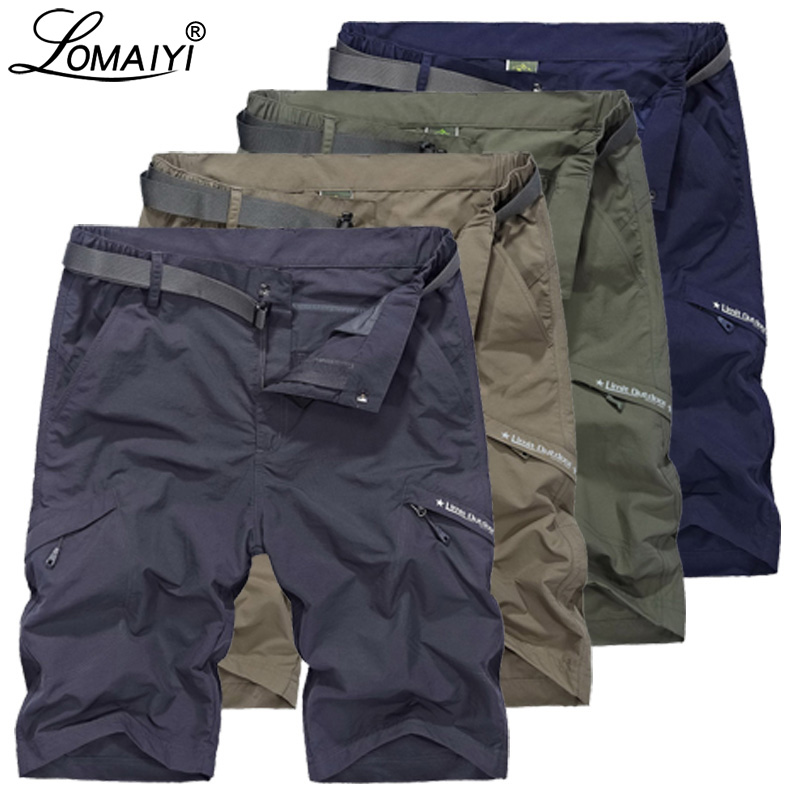 LOMAIYI Cargo Shorts Men Breathable Quick Dry Short Mens Shorts Army Green/Khaki Summer Casual Shorts For Man Travel AM385