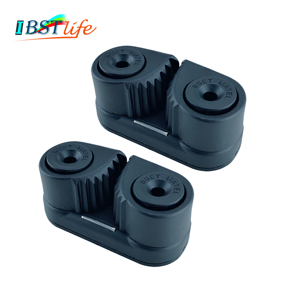 2X Black Composite 2 Row Matic Ball Bearing Cam Cleat Marine Boat Pilates Equipment Fast Entry Rope Wire Fairlead Sailboat Yacht