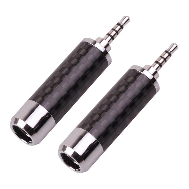 SYRNARN 2,5mm 4 polos estéreo fibra de carbono auricular enchufe HiFi 2,5 auriculares rodio plateado Audio Jack 6,2mm cable agujero conector de línea