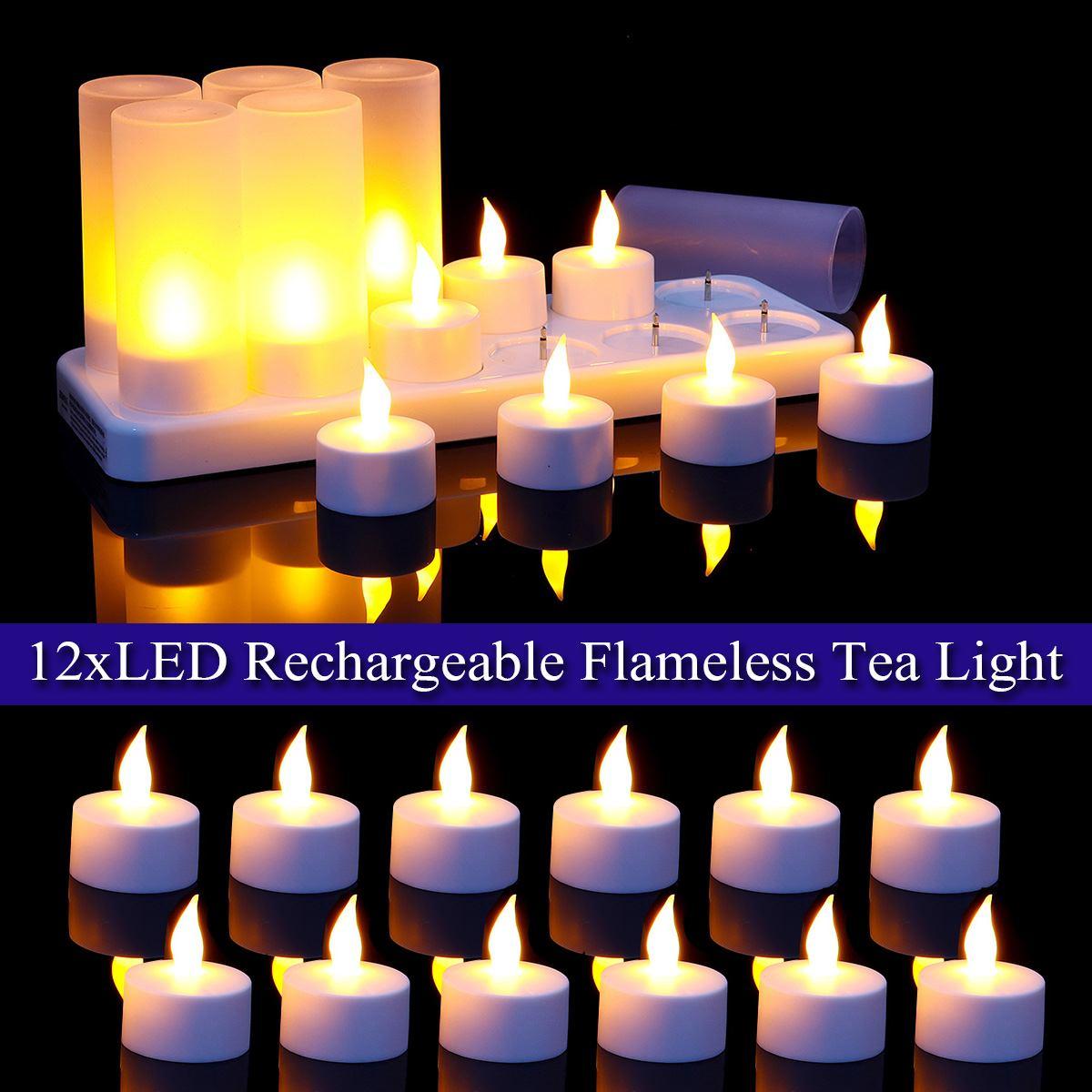Avec prise AU 12 pièces LED Rechargeable bougie lampe flamme clignotant thé lumière maison mariage fête d'anniversaire décoration 220V