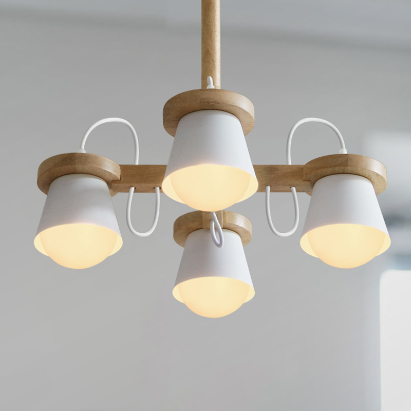 Nordic chandelier modern minimalist bedroom living room lamp creative personality restaurant study log chandelier