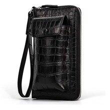 yinshang Крокодил кожаный мешок досуг мода бизнес мульти-карта большой емкости мужчины клатч крокодил сумка телефон сумка