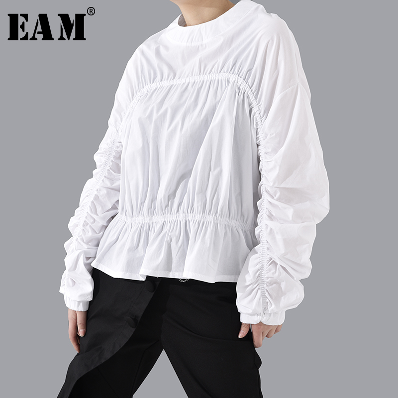 [EAM] Women White Vintage Pleated Big Size Blouse New Round Neck Long Sleeve Loose Fit Shirt Fashion Spring Summer 2020 1T806
