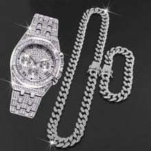 Zegarek męski 2020 męskie zegarki Top marka luksusowy Bling złoty zegarek z brylantami AAA Hip Hop wodoodporny zegarek i łańcuszek i bransoletka tanie tanio SERYNOW 23cm Moda casual QUARTZ 3Bar Bransoletka zapięcie STAINLESS STEEL 10mm Hardlex Papier 41mm 20mm Plac Kompletna kalendarz