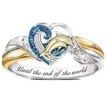 Popular moda feminina romântico coração-em forma de golfinho zircão animal anel dia dos namorados temperamento charme jóias presente atacado