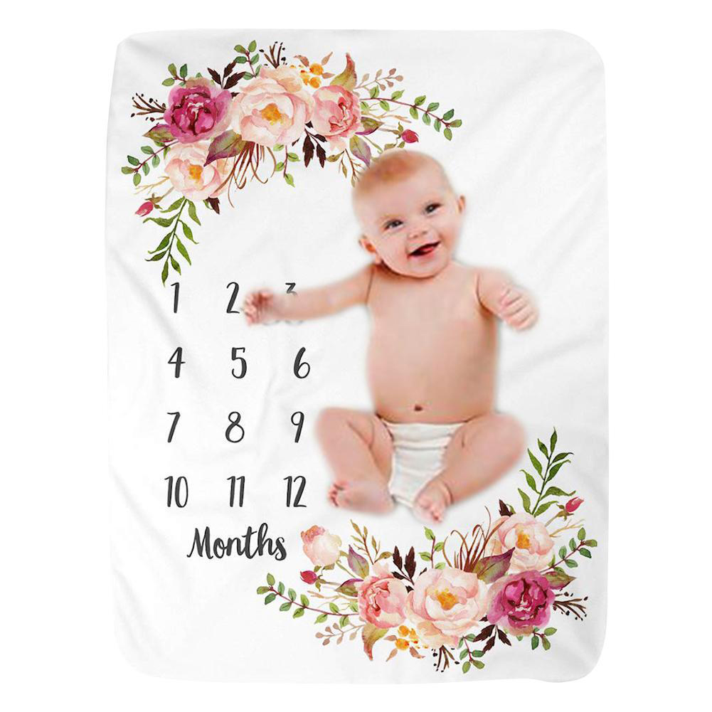Infant Baby Blanket DIY Photo Girl Boy Newborn Photography Fleece Baby Monthly Flannel Shower Blanket For Baby Kids Decoration