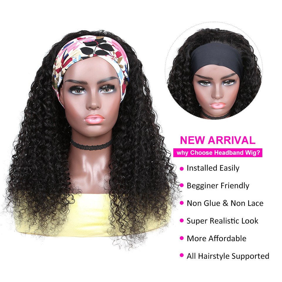 YYong Jerry Curl Headband Wig Natural Color    Headband Wigs With Scarf Glueless Wig for Women 8-24inch 2