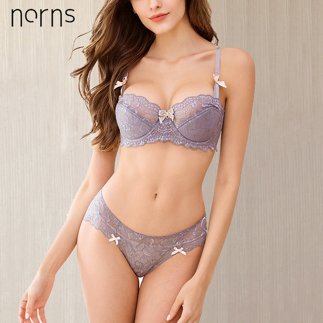 Norns new half cup Ultra-thin lace ladies underwear hollow lace embroidered push up bras women plus size underwear set 1