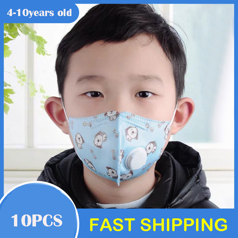 10pcs Kids Face Mask With Filter Child Kawaii Disposable Safety Protective PM2.5 Anti-Flu Dust Mouth Mask Respirator Valve