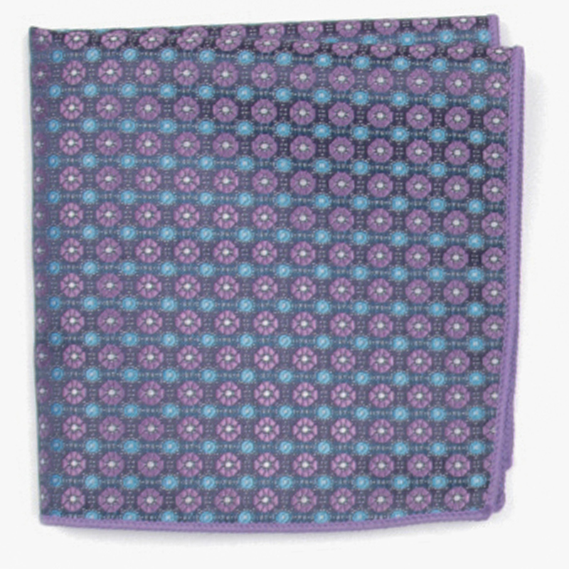 Blue Patterned Pocket Square With Patterns Handkerchief