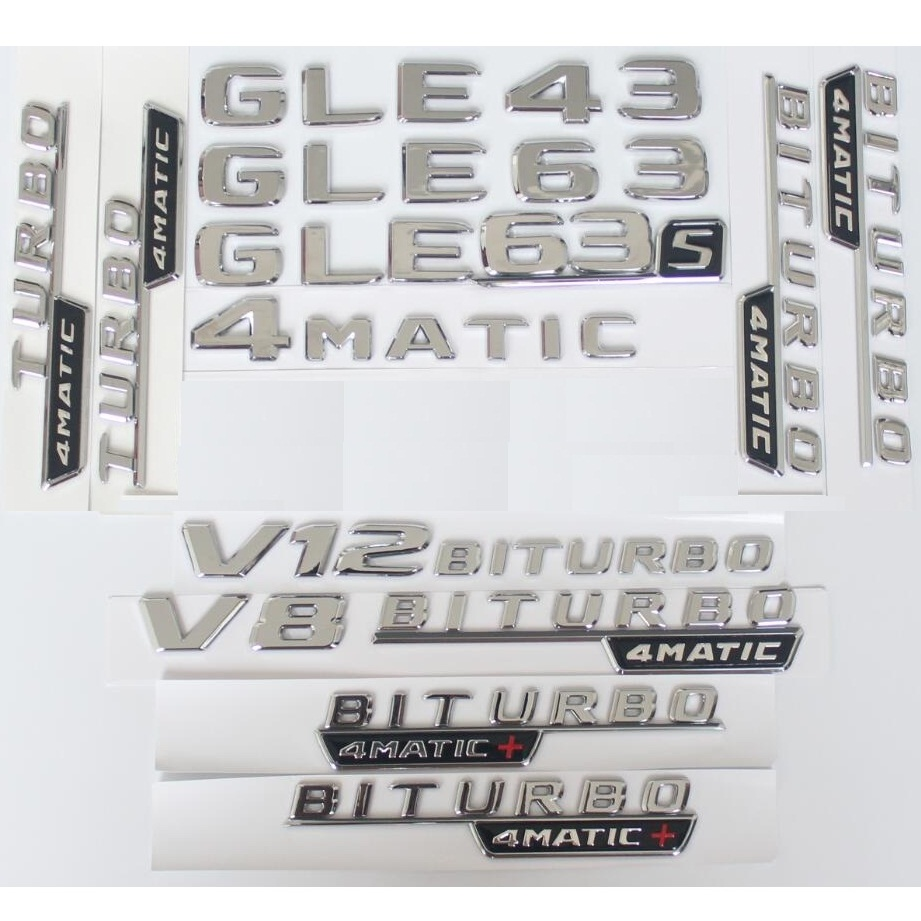 Krom harfler GLE43 GLE53 GLE63 GLE63s amblemi V8 V12 BITURBO 4MATIC etiket Benz AMG için W166 C292 gövde çamurluk amblemleri