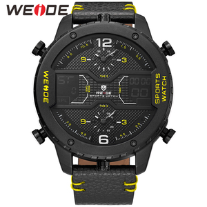 Image 5 - WEIDE mens Sports Analog Hands Digital numeral Calendar Quartz movement Brown Leather Strap Wristwatches 2019 Military Clock