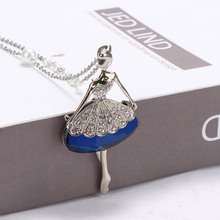 1PCS Fashion Dance Ballet Girl Fairy Angel Necklace Sweater Chain Statement Collar Pendant Jewelry