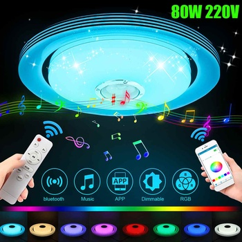 80W Music Led Ceiling Light Lamp RGB Flush Mount Round Music APP bluetooth Speaker Smart Ceiling Lamp With Remote Control 220V