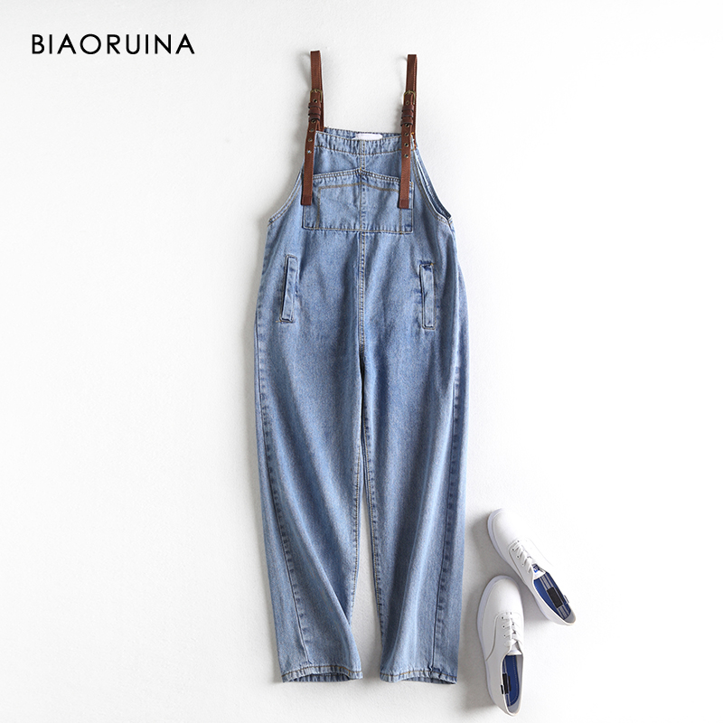 BIAORUINA Women's Washing Blue Adjustable Strap Fashion Denim Overalls Female High Waist Ankle-length Casual Jeans Streetwear
