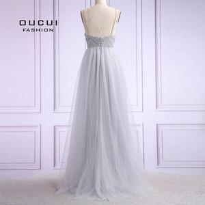 Image 3 - Vestido De noche largo De tul para mujer, De talla grande, con perlas, tirantes finos, OL103420, 2019