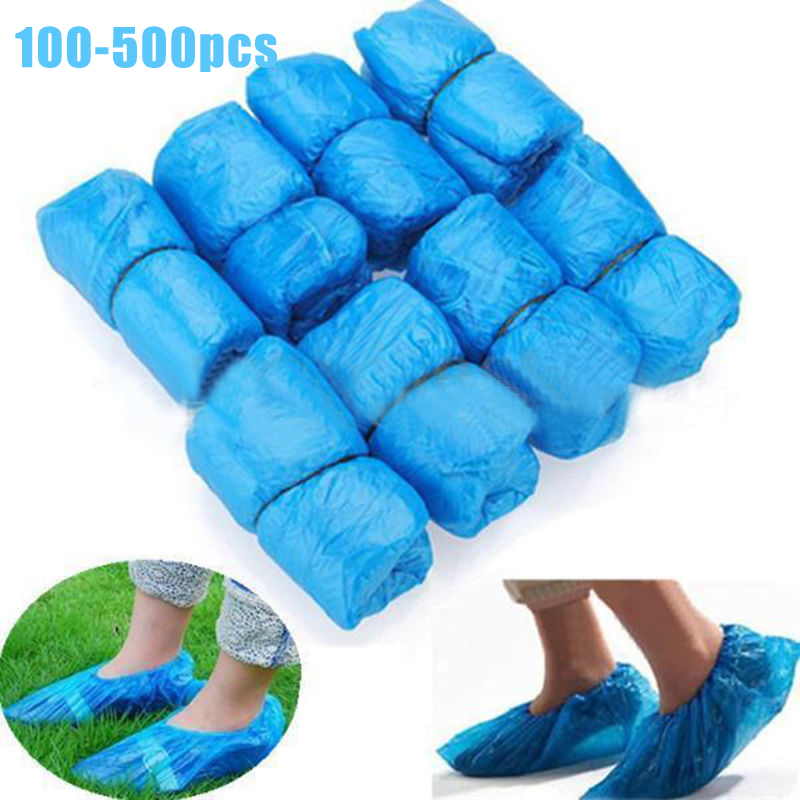 500Pcs Disposable Plastic Anti Slip Boot Safety Shoe Cover Cleaning PVC Plastic Over Shoes Shoe Boot Covers Carpet Protectors