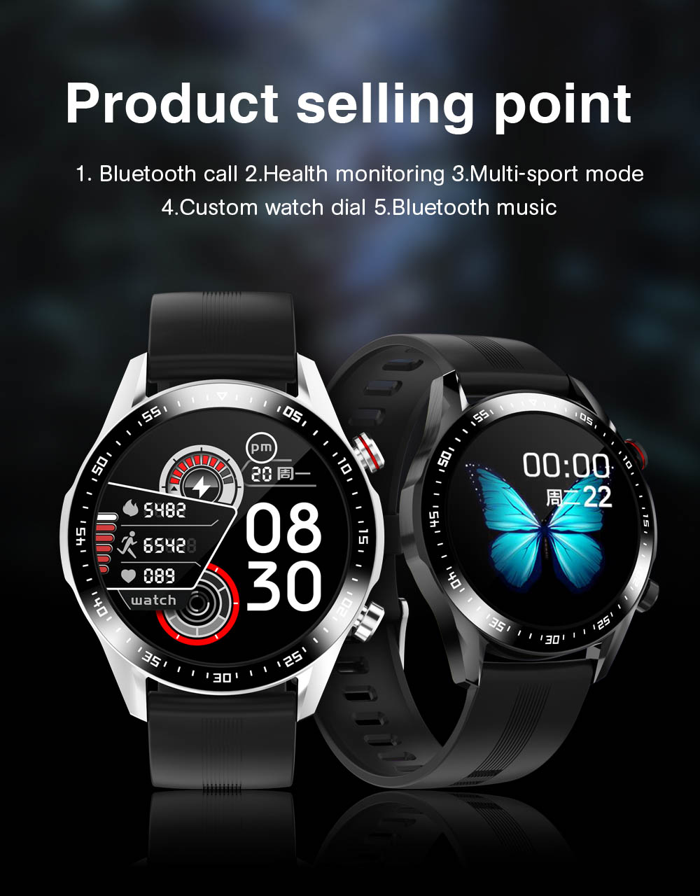 H936fb68ecc78453c8b12e7a7f10ca6b9f E1-2 Smart Watch Men Bluetooth Call Custom Dial Full Touch Screen Waterproof Smartwatch For Android IOS Sports Fitness Tracker