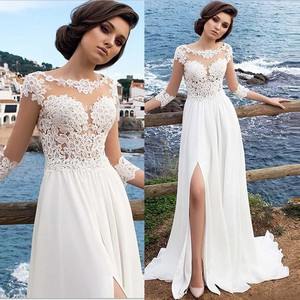 Dress Women Party Dress платье Sexy Solid White Color Long Sleeve Lace Slit Up See-through Long Full Dress Free Ship Z4